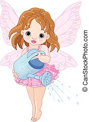 Watering Fairy - Illustration of a cute little fairy...