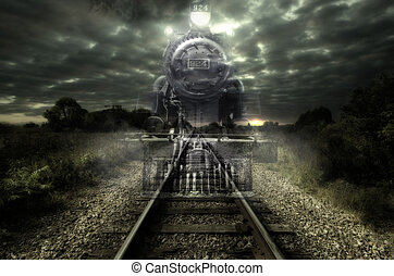 Ghost train - Old steam locomotive seems like a ghost train....