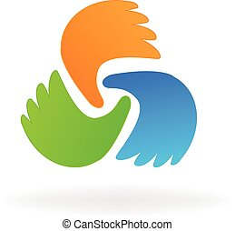 Business hands logo vector icon design