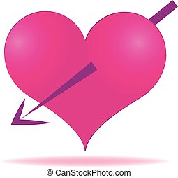 Love heart - Vector of cupid pink heart valentines day...