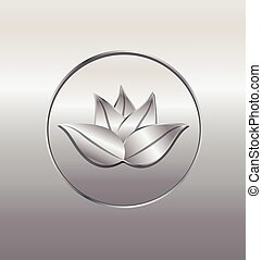 Lotus seal in silver background