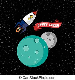 rocket ship space travel theme vector art illustration