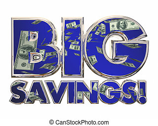 Big Savings Money 3d Words Sale Dis