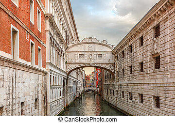 Bridge of Sighs in Venice, Italy - Bridge of Sighs or Ponte...