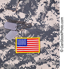 USA Flag patch and ID tags with battle dress uniform - USA...