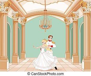 Prince and Princess - Illustration of dancing prince and...