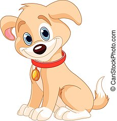 Cute Dog - Illustration of cute dog with red collar