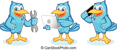 Blue Jay Mascot with phone and laptop