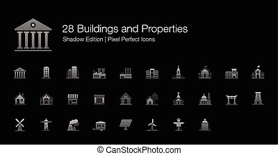 Buildings and Properties Icons - Set of vector icons...