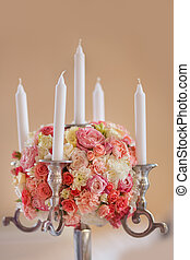Wedding Flowers Decoration whit candles - Candlestick...