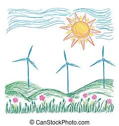Wind turbines landscape illustration, sketch