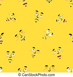 Cartoon faces seamless pattern. Set of emotions on yellow background. Cheerful personality and sad person ornament