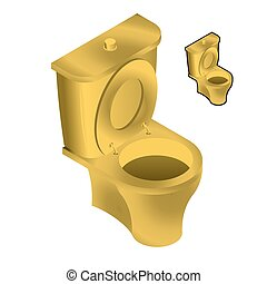 Gold toilet bowl isometric illustration on white background. Sink in toilets made of gold for flow of urine and feces isolated.