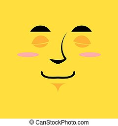Cartoon cute face an yellow background. Gaiety emotion....