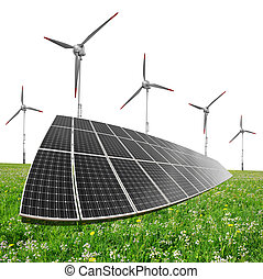 Clean energy concept. - Solar energy panels with wind...