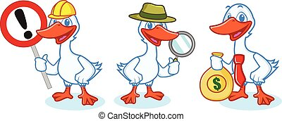 Goose Mascot Vector with sign