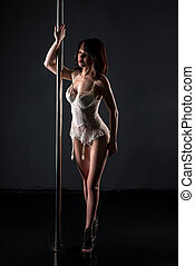 Pole dance Dancer dressed in erotic lace lingerie - Pole...