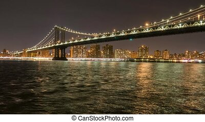 Manhattan Bridge Timelapse at night videoclip