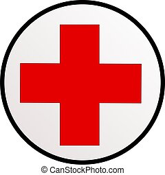 Red cross - Illustration of a sign of red cross in a circle...