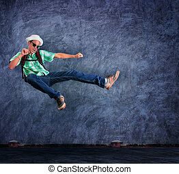 traveling man jumping mid air with exciting emotion against...