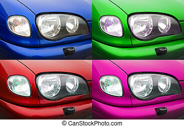Collage of different car lights. Four photos.