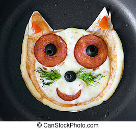 Handmade pizza in the form of cat.