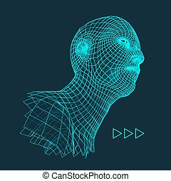 Head of the Person from a 3d Grid - Head of the Person from...