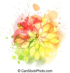 Multicolored blot with flower
