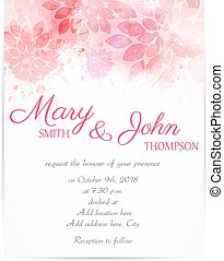 Wedding invitation template with abstract flowers - Wedding...