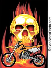 human skull and my original motorbike design in the fire