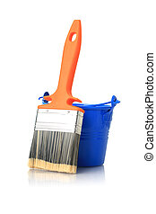 Brush and blue bucket - Brush and blue bucket isolated over...