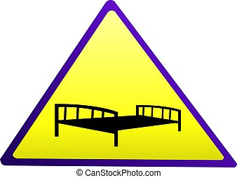 cot	 - Illustration of a sign of bed in a triangle