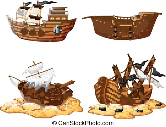 set of broken pirate ship - vector illustration of set of...