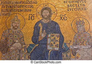 Religious Mosaic - Christian mosaic of byzantine era at...