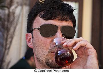 Tourist drinking turkish tea