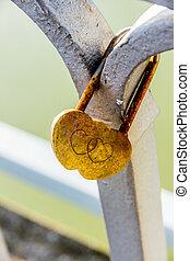 candado, symbolizing, amor,