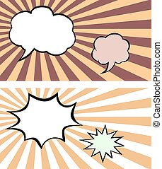 Set of comics bubbles on sunburst bacgrounds - Vector set of...