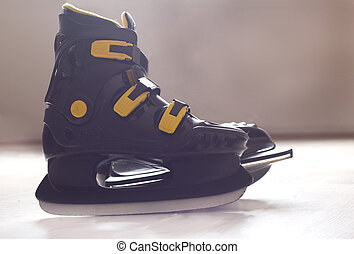 Black ice skates - Close up of black plastic ice skates...