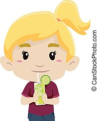 Girl Drinking Glass of Lemonade - Vector Illustration of a...