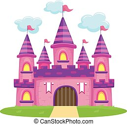 Pink Castle - Vector Illustration of Pink Castle