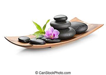 zen stones - spa concept zen basalt stones and orchid...