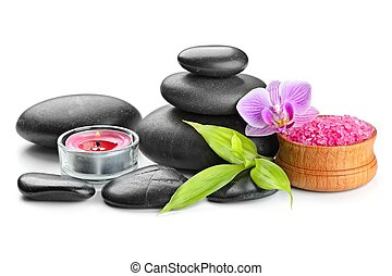 zen stones - spa concept zen basalt stones and salt isolated...
