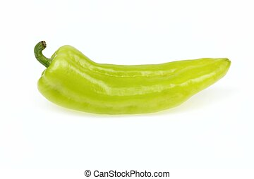 Pointy green pepper, on white background.