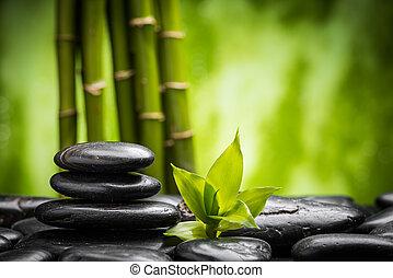 zen stones - zen basalt stones and bamboo