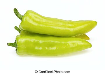 Pointy green peppers, on white background