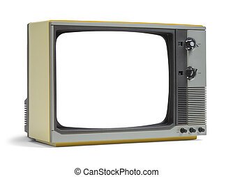 Old Blank TV - Old Television Set with Copy Space Isolated...