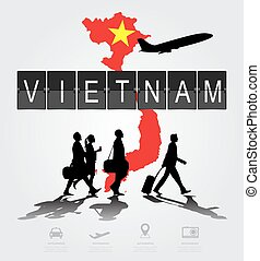 Infographic silhouette people in the airport for vietnam...