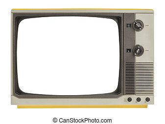 Retro TV - Old Television Set with Copy Space Isolated on...
