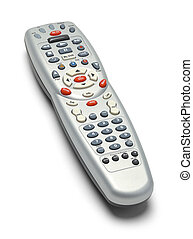 TV Remote Control - Grey TV Remote Control Isolated on White...