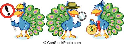 Peacock Mascot Vector with money